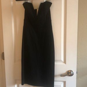 Low cut tube top black dress